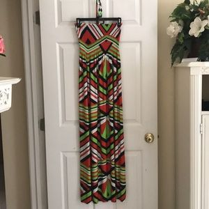 Gabrielle Maxi Dress w/ Beaded Neck Tie